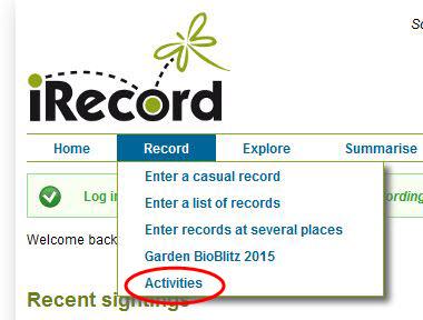 Record menu - choose Activities