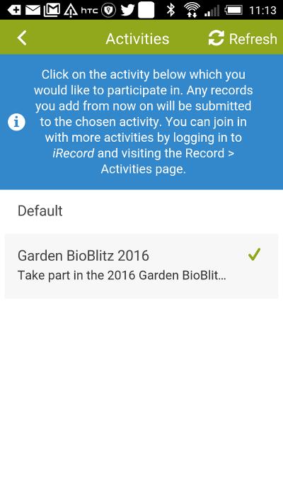 Selecting the Garden BioBlitz activity