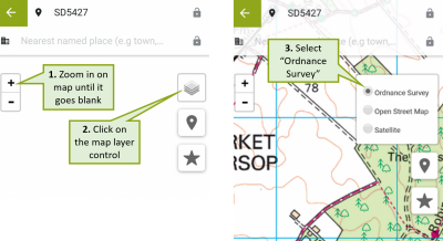 iRecord app screenshots showing how to zoom in and use the OS map layer