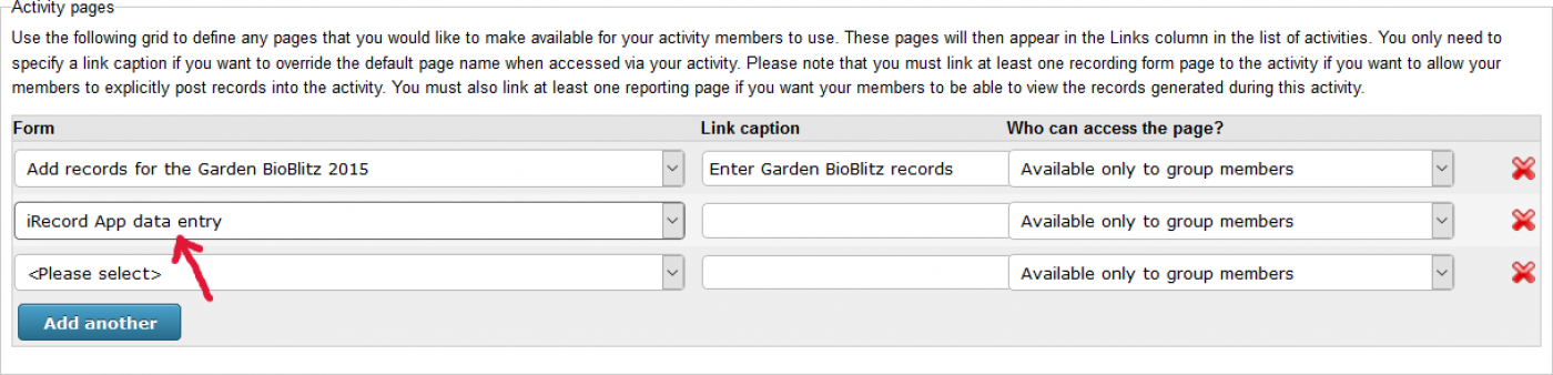 Adding the app form to an activity's pages