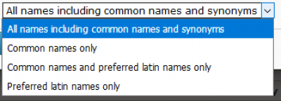 screenshot of species name options